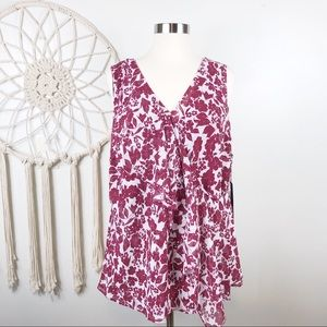 Daisy Fuentes Burgundy Floral Sleeveless Top